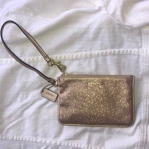 Coach GOLD Glitter Legacy Small Wristlet  50374